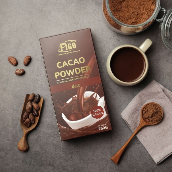 Bột cacao nguyên chất 100% cacao chuyên dùng Pha chế cho các quán Coffee Figo 250g