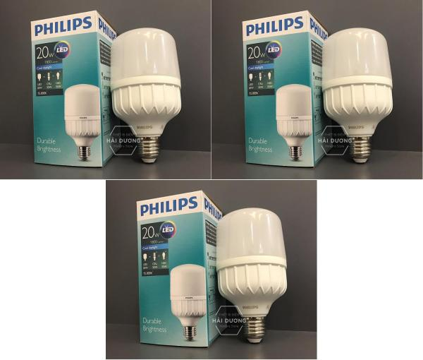 Bộ 3 Bóng đèn Philips LED trụ 20W đuôi E27 230V P45 ( ánh sáng trắng/vàng ) - Bảo hành 2 năm