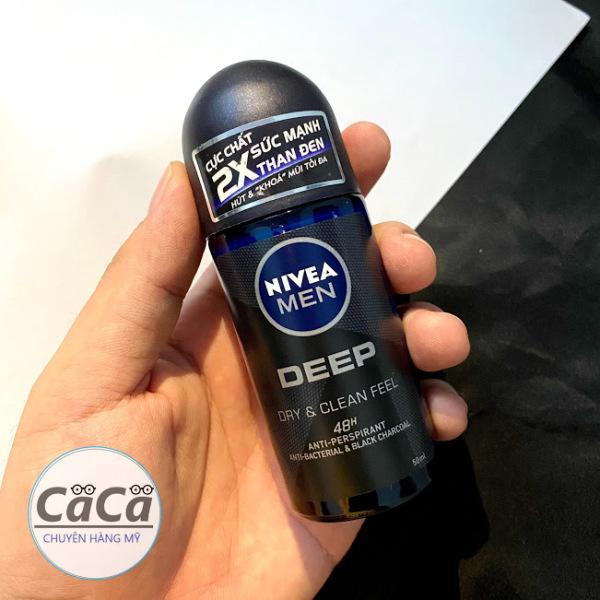 Lăn ngăn mùi NIVEA MEN Deep than đen hoạt tính 50ml cao cấp