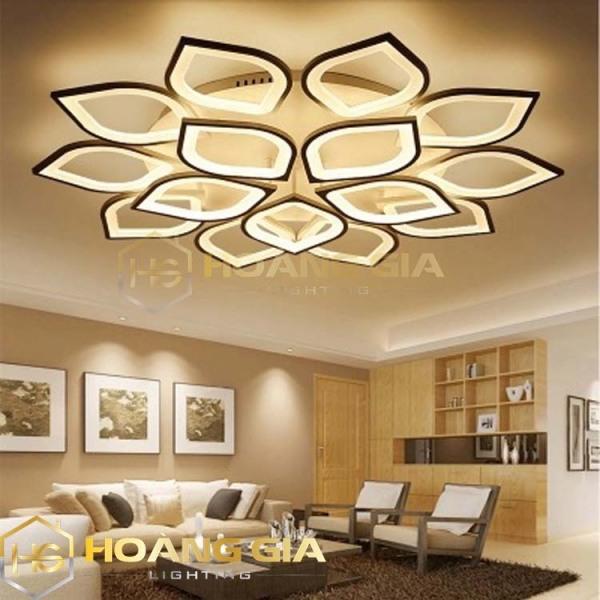 Đèn trang trí phòng khách - Đèn tĐèn Ốp Trần LED Hiện Đại  - 12 Cánh Sen Có Điều Khiển 3 Màu Sáng Phân Tầng - Bảo hành 12 tháng