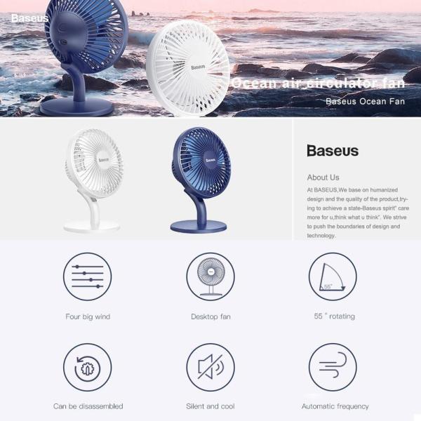 Quạt Mini Để Bàn Sạc Pin Baseus Ocean Fan ( Pin sạc 2000mAh, 4 cấp độ )
