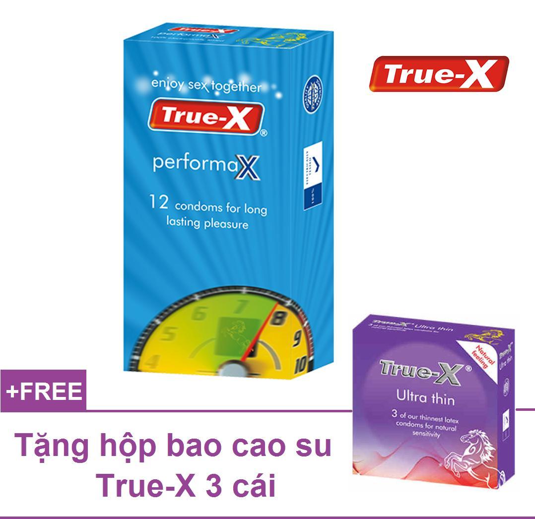 Combo 1 hộp Bao cao su kéo dài thời gian True-X PerformaX Extra time tặng 1 hộp 3 chiếc