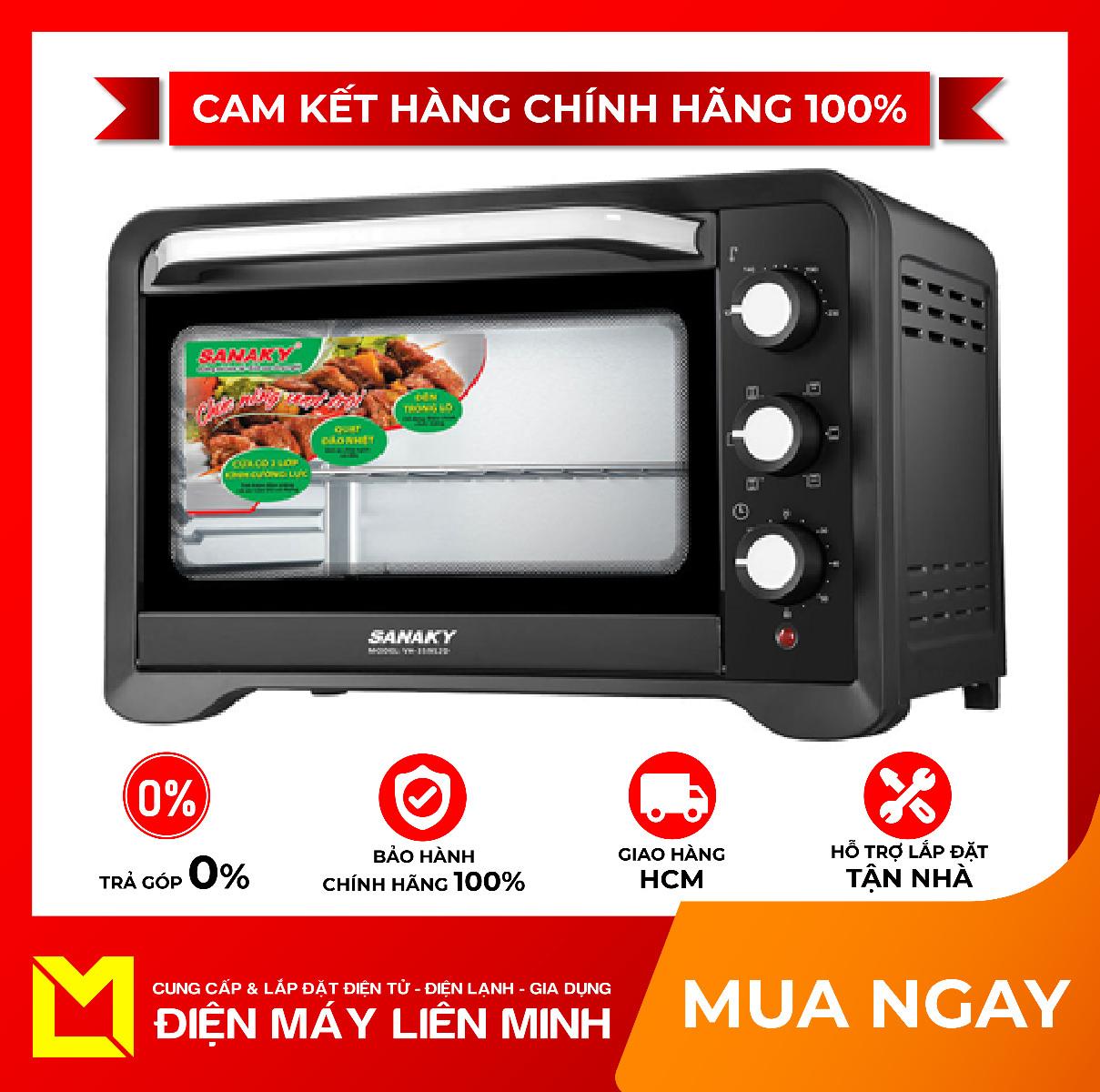 Lò nướng Sanaky VH359S2D - Có trục xiên quay thực phẩm giúp thức ăn chín nhanh hơn, Quạt đối lưu giúp nhiệt độ toả đều khắp lò, thức ăn chín đều, Cửa kính 2 lớp có khả năng chịu nhiệt tốt, an toàn khi dùng