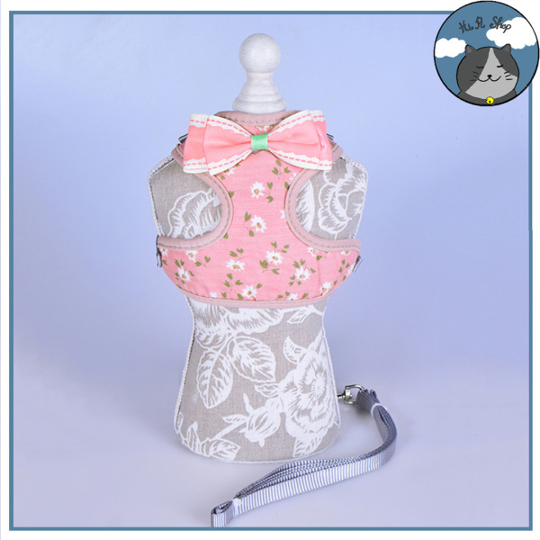 [Rẻ Vô Địch] Dây Dắt Chó Mèo Yếm Ngực Hàn Quốc Hình Hoa Kèm Nơ Retro Dây Dẫn Cho Thú Cưng Chất Liệu Cotton Khoá Kim Loại