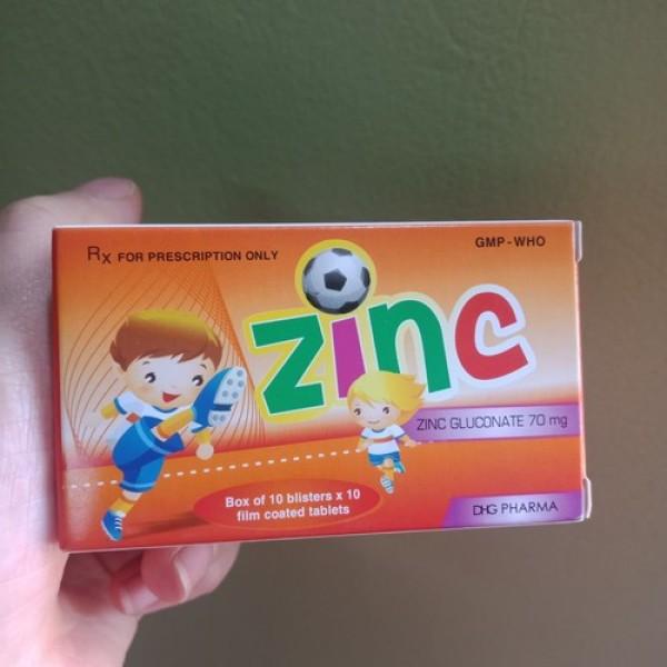 ZINC hộp 10 vỉ x 10 viên bổ sung kẽm gluconat 70mg giá rẻ