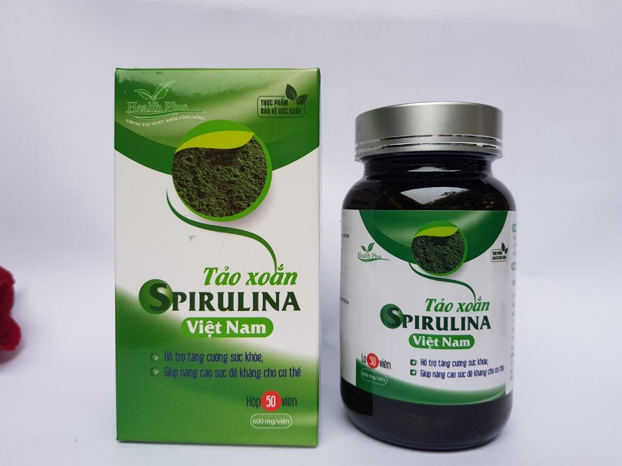 Tảo xoắn spirulina Việt Nam -Healthplus hỗ trợ tăng cường sức khỏe, nâng cao sức đề kháng, dùng cho người gầy yêu, thiếu dinh dưỡng, viên gan, tiểu đường, loét dạ dày, đục thủy tinh thể, dụng tóc, dưỡng da, làm đẹp -HP0003-atcare cao c