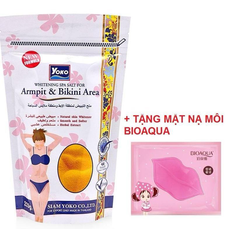 TẶNG MASK MÔI COLAGEN- Muối Tẩy Tế Bào Chết Yoko Thái Lan Trắng Da Vùng Nách Bikini 220gr cao cấp