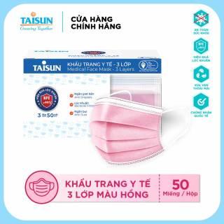 Khẩu trang y tế Taisun 3 lớp - màu hồng thumbnail