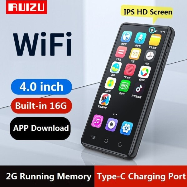 Máy Nghe Nhạc RUIZU H8 WIFI Android MP3 player Bluetooth 5.0 Touch Screen 4.0inch 16GB music mp3 player with Speaker,FM,E-book,Recorder,Video