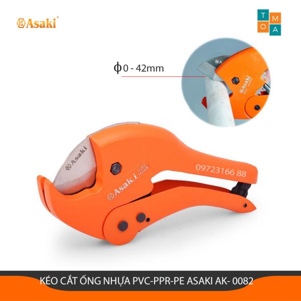 Kéo Cắt Ống Nhựa PVC - PPR - PE Asaki AK-0082 42mm (Hạng nặng), Thích hợp trong việc cắt ống nhựa PVC - PPR - PE, Kích thước cắt tối đa 42mm, Thân Kéo Làm Bằng Chất Liệu Hợp Kim Nhôm, Lưỡi Kéo Làm Bằng Thép Mangan Cao Cấp