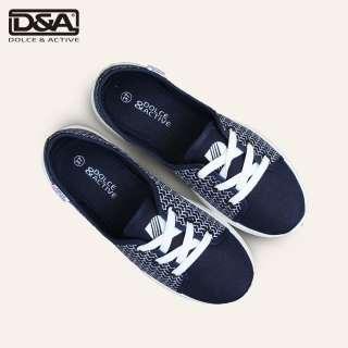Giày slip on nữ D&A EP L1916 đế cao màu xanh chàm