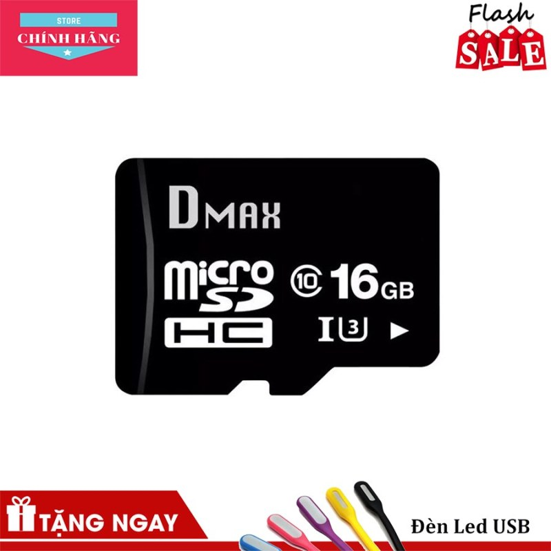 Thẻ nhớ 16Gb tốc độ cao U3, up to 90MB/s Dmax Micro SDHC - Bảo hành 5 năm đổi mới