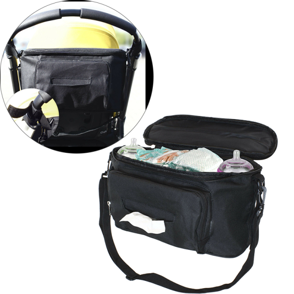 Pushchair Buggy Organiser Bag Stroller Storage Wipes Cup Holder Shoulder with Strap Singapore
