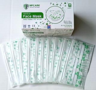 [Lucky Green Xanh lá may mắn] Khẩu trang y tế 4 lớp họa tiết Cao Cấp lọc khuẩn 95% NP Care face mask đạt tiêu chuẩn ISO 13485 2016 Lucky Hoa may mắn 50 cái hộp thumbnail