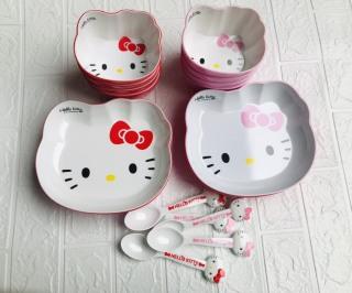 Bát Đĩa Giả Sứ Hình Mèo Hello Kitty Siêu Đáng yêu Cho Bé Ăn Dặm thumbnail