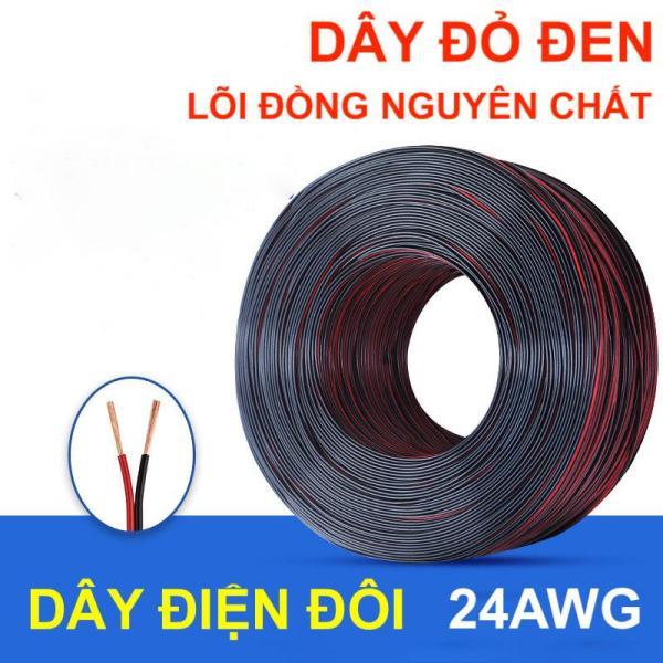 Bảng giá 10 mét dây điện đôi 24AWG đồng nguyên chất vuông đen đỏ  lõi 2 x 0.2mm - LK0192
