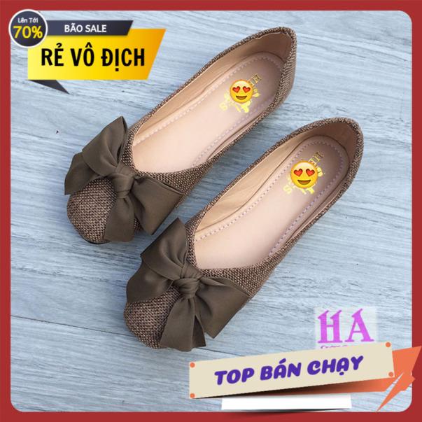 Giày búp bê đế bệt chất dạ gắn nơ vải xinh cực sang trọng giày nữ giày bệt nữ giày nơ giày dạ giá rẻ