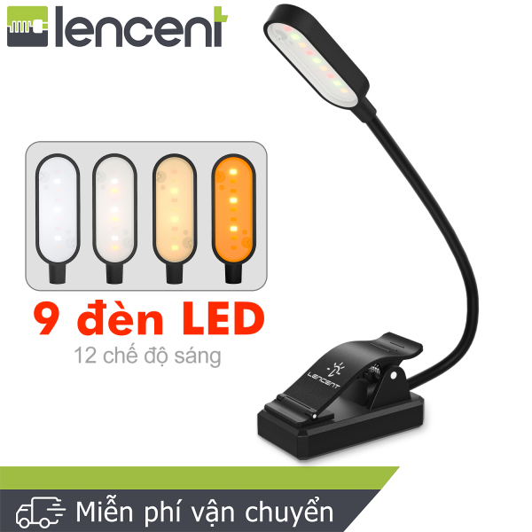 Bảng giá LENCENT 9 Đèn LED 12 chế độ Đèn bảo vệ mắt Kẹp bật sáng, Đèn linh hoạt với USB có thể sạc lại để đọc [Màu trắng hổ phách kết hợp ấm]