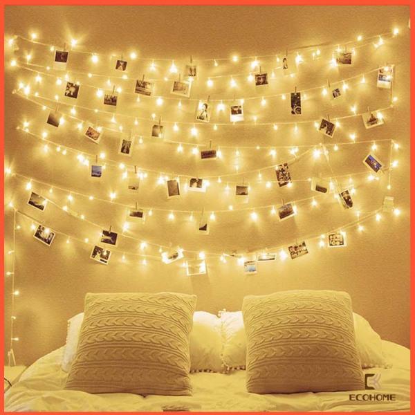 Bảng giá [ Cắm điện ] Dây đèn led không nháy Vàng 8M 50 bóng, decor phòng ngủ