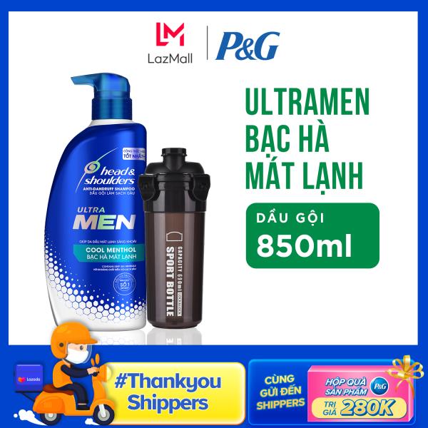 Dầu Gội Head & Shoulders UltraMen Bạc Hà Mát Lạnh chai 850ml + Bình Nước