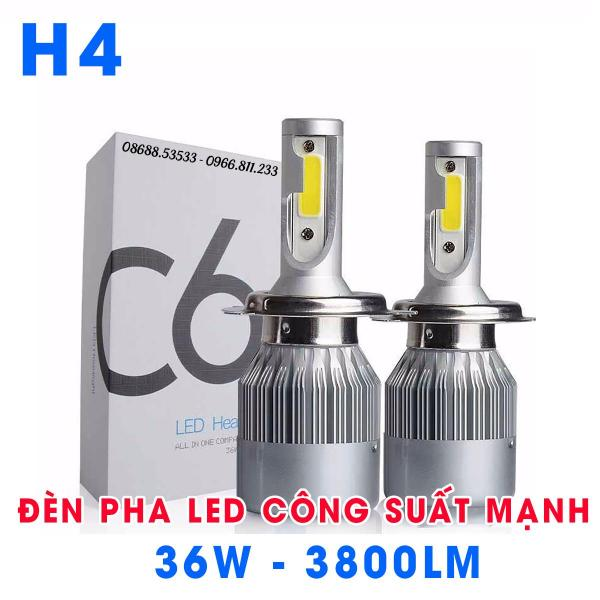 [HCM]01 bóng đèn LED pha xe máy ô tô chân H4 HB2 9003 C6 siêu sáng 12v 36W