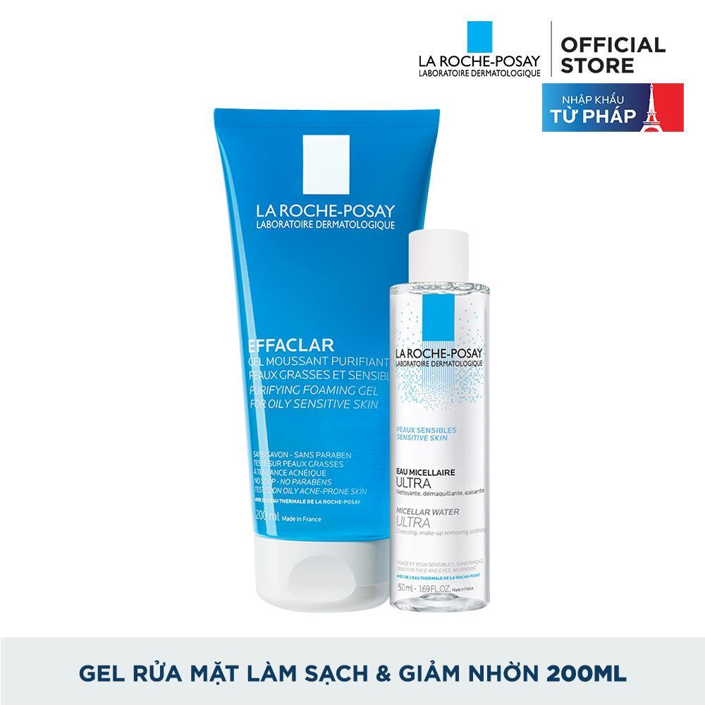 Sữa rửa mặt tạo bọt làm sạch dành cho da dầu nhạy cảm La Roche-Posay Effaclar Gel For Oily Sensitive Skin 200ml + Tặng Tẩy trang dành cho da dầu mụn Micellar water 50ml chính hãng