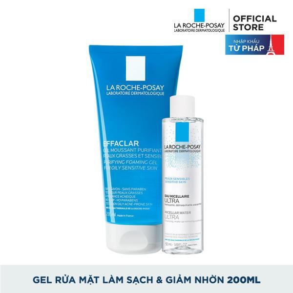Sữa rửa mặt tạo bọt làm sạch dành cho da dầu nhạy cảm La Roche-Posay Effaclar Gel For Oily Sensitive Skin 200ml + Tặng Tẩy trang dành cho da dầu mụn Micellar water 50ml tốt nhất