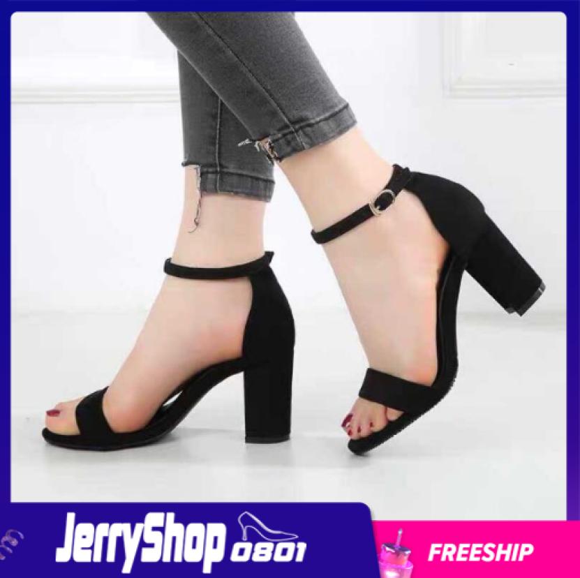 Giày nữ sandal cao gót 7 phân đế vuông dự tiệc, công sở quai ngang jerryshop0801 giá rẻ