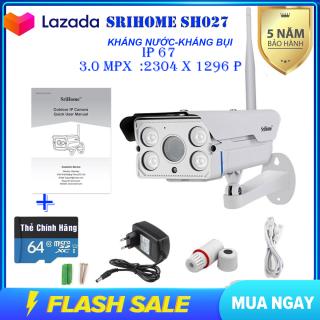 [KÈM THẺ CHUYÊN DỤNG 64GB] Camera Wifi SriHome SH027 - Camera không dây siêu nét 3.0 mpx - camera ngoài trời - camera trong nhà - camera chống nước - chống ngược sáng [CHÍNH HÃNG] [BẢO HÀNH 5NĂM] thumbnail