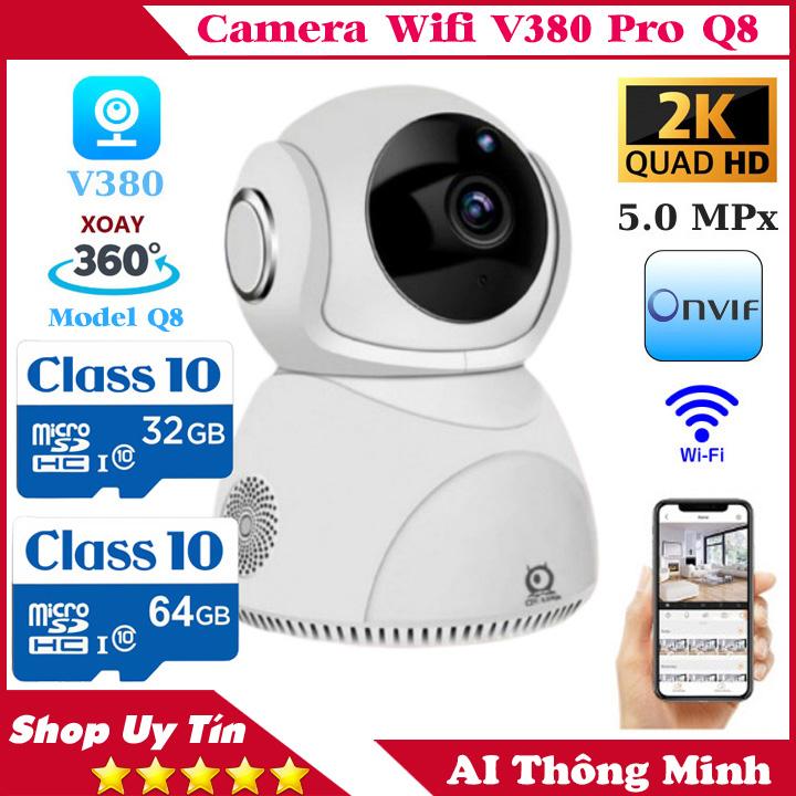 (BẢO HÀNH 5 NĂM, KÈM THẺ CHUYÊN DỤNG 64 GB)Camera ip Wifi Xoay 360 độ V380 PRO Q8 5 Mpx,Độ phân giải 2560 x 1440P, Ghi âm , ghi hình, đàm thoại 2 chiều,cảnh báo chuyển động, camera trong nhà, camera ngoài trời