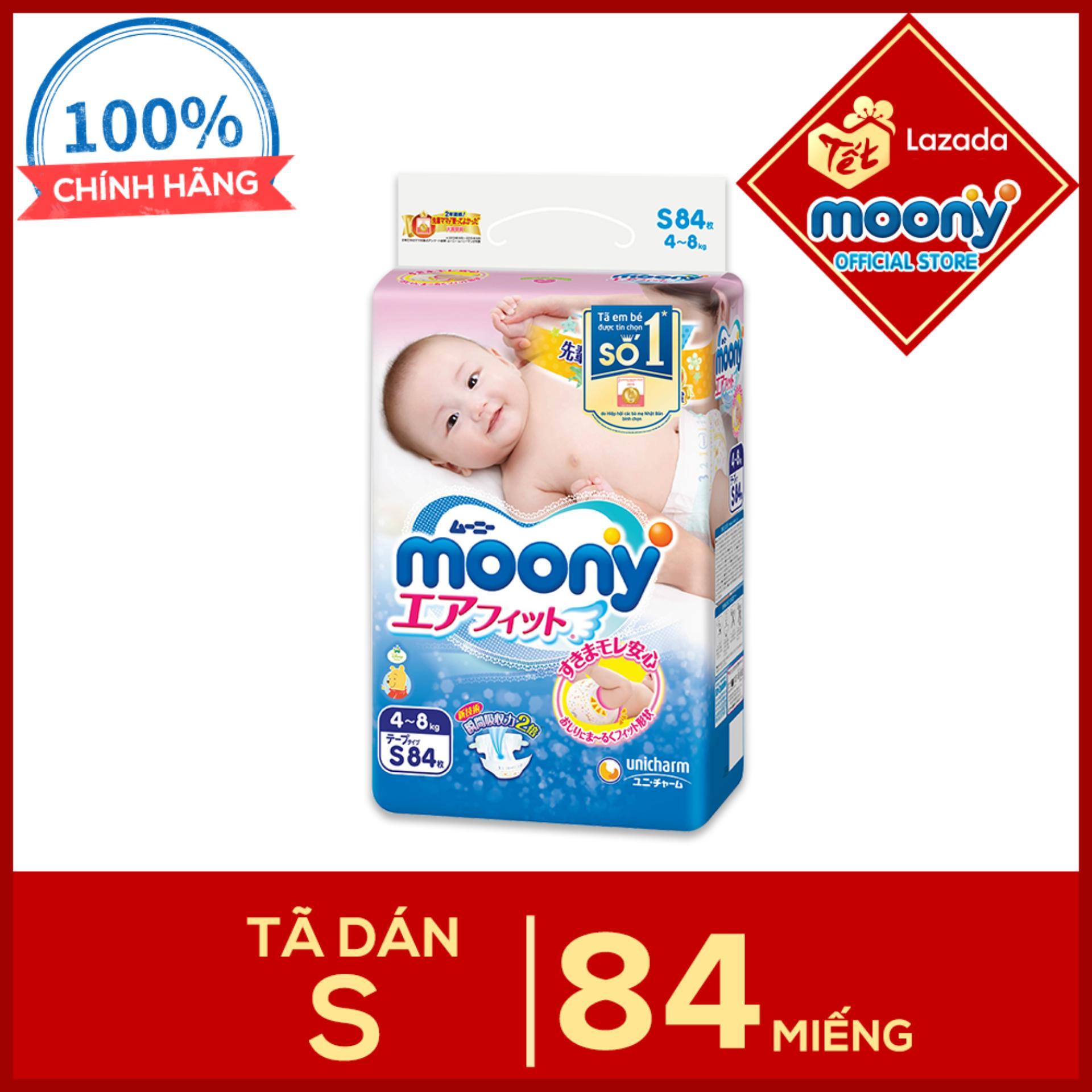 Tã dán Moony S - 84 miếng (4 - 8kg)...