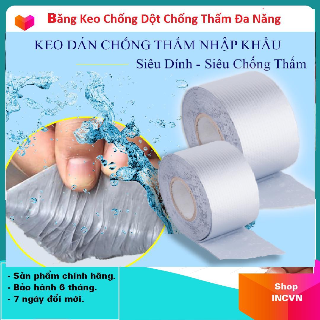 (Loại To 10cm x 5m) Băng Keo Siêu Dính Đa Năng, Keo dán chống thấm đa năng cho tường, trần nhà, mái tôn, ống nước, bể nước, xô chậu, phao bơi, bể bơi, đồ bơm hơi
