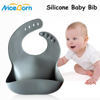 NiceBorn Baby Bibs Waterproof Silicone Bib Adjustable Foldable Anti-dirty Feeding Bib for Babies and Toddlers with Various Styles 100% Food Grade Silicone Feeding Apron Children Feeding Accessories 30x23cm