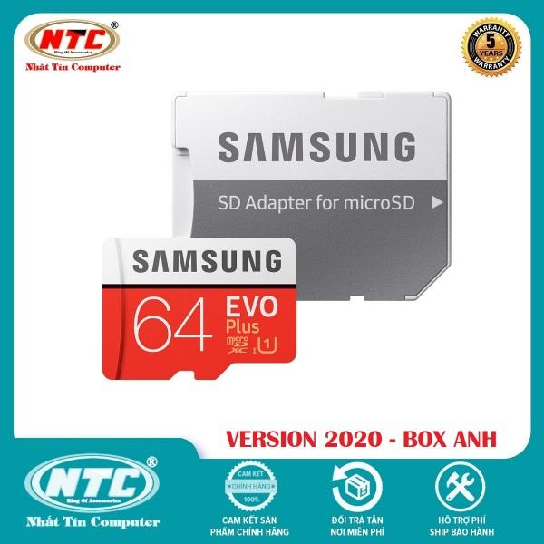 Thẻ nhớ MicroSDXC Samsung Evo Plus 64GB U1 2K R100MB/s W20MB/s - box Anh New 2020 (Đỏ) + Kèm Adapter - Nhất Tín Computer