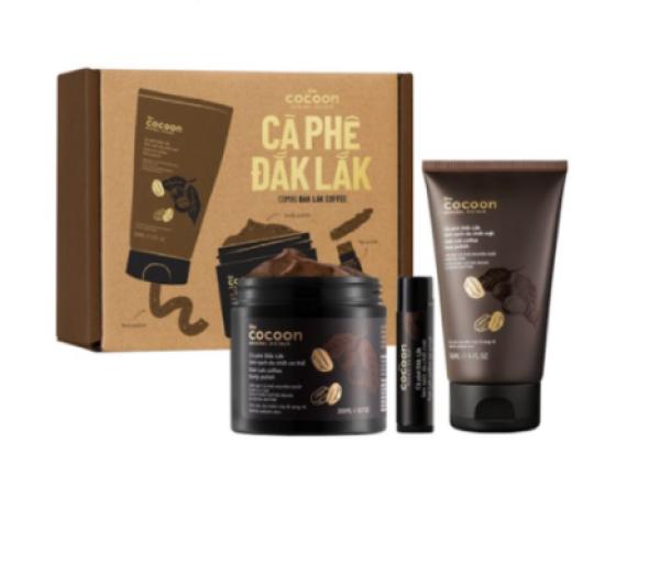 Combo tẩy tế bào chết cà phê Cocoon Đắk Lắk làm sạch da body, mặt và môi cao cấp