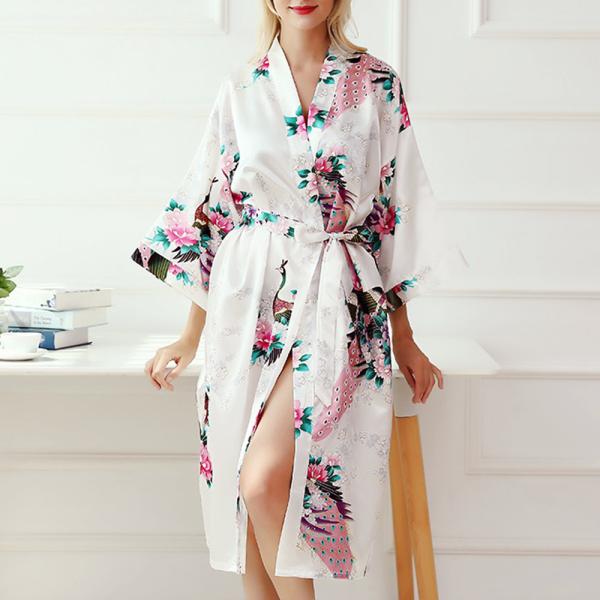Nơi bán OTU5611 Áo Choàng Đám Cưới Hình Con Công, Lụa Kimono Quần Áo Ngủ Áo Ngủ, Áo Choàng Tắm Áo Choàng Ngủ