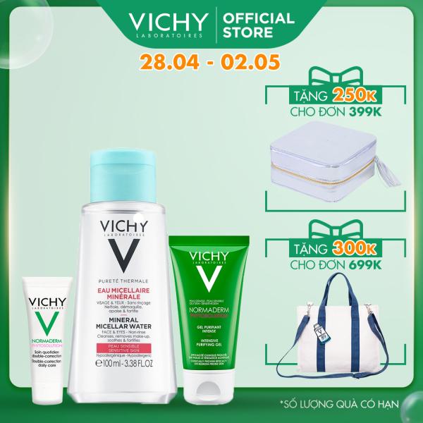 Bộ sản phẩm tẩy trang, gel rửa mặt làm và kem dưỡng cho da dầu mụn Vichy