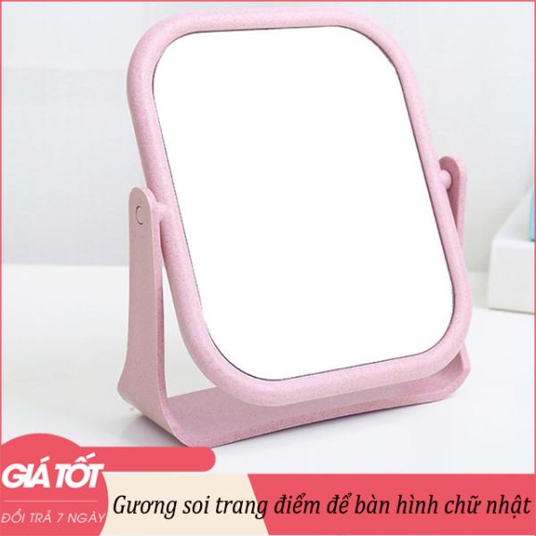 Gương soi trang điểm để bàn hình chữ nhật-hình tròn 18x21cm - Gương để bàn, Gương soi, Gương gấp để bàn, gương mini, Gương để bàn, gương cu te, gương trang điểm dễ thương giá rẻ