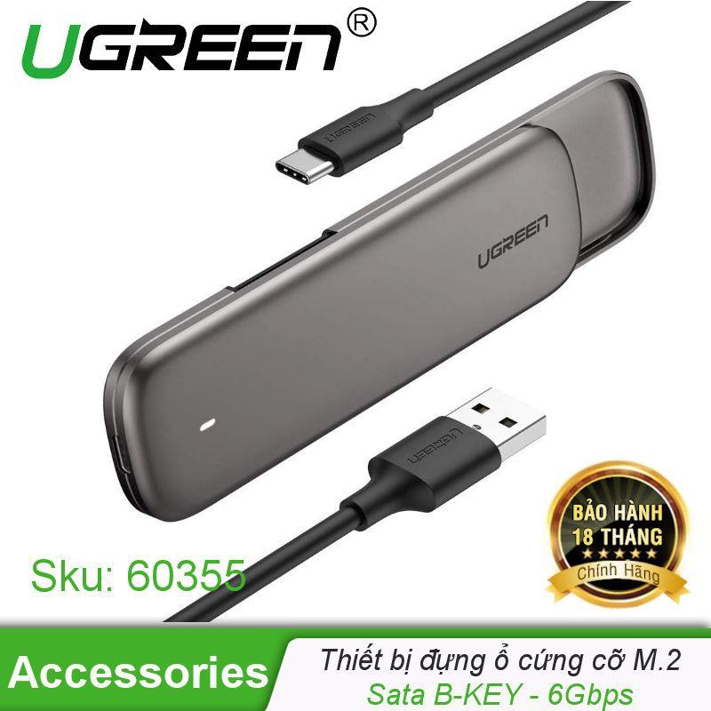 Giá Thiết bị đựng ổ cứng M2 SATA NGFF hỗ trợ B-Key và M+B Key 2230/2242/2260/2280, hỗ trợ UASP, 6Gbps cổng USB type C UGREEN CM238 60355