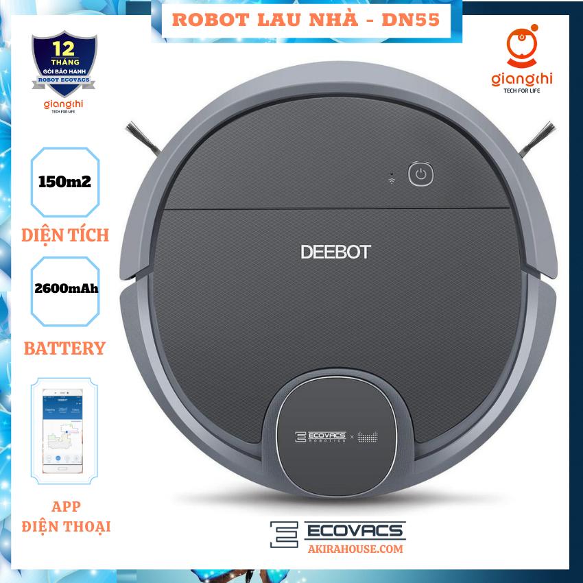 [FREE SHIP] Robot hút bụi ecovacs DN55 - Hàng trưng bày 99% (app điện thoại,tường ảo,full) Công nghệ Smart Navi 4.0/ Lực hút cực mạnh - Robot hút bụi lau nhà, máy hút bụi thông minh/ Bảo hành uy tín 12 THÁNG GIANG CHI ECOVACS HOUSE