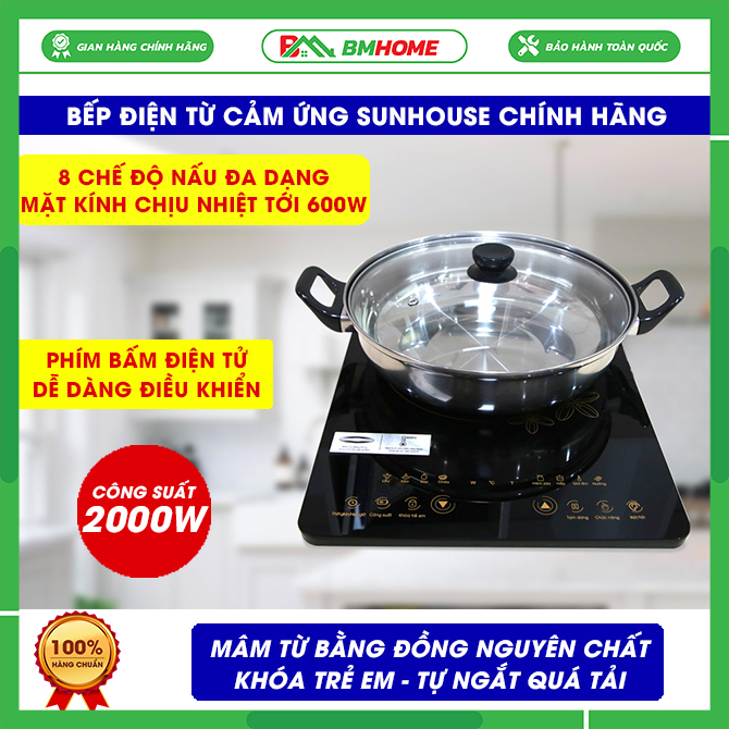 [TẶNG Mã giảm giá 400K] Bếp điện từ cảm ứng sunhouse SHD6800, Bếp từ Sunhouse công suất 2000W kính, tiết kiệm điện - Tặng Kèm Nồi - Bep tu Bảo hành 12 tháng, bếp từ sunhouse bmhome