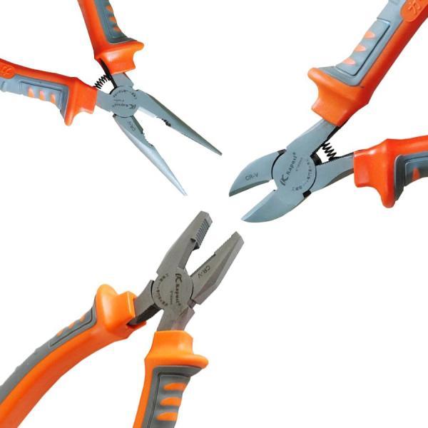 Bộ 3 KÌm cắt, Kìm nhọn, Kìm điện  Kapusi Nhãn hiệu: Kapusi 3 KÌM : kìm cắt, kìm nhọn, kìm điện Được làm bằng thép không gỉ Cán bọc nhựa chống trượt