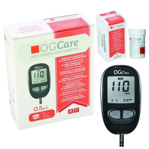 Nơi bán Máy đo đường huyết OGCare + Hộp que thử đường huyết 25 que + 100 Bông tẩm cồn + 100 Kim thử máu