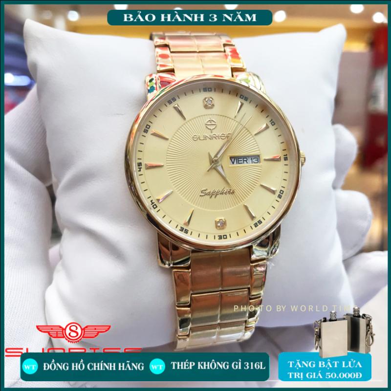 Đồng hồ nam Sunrise  dây thép  DM747SWC , Full hộp , thẻ bảo hành hãng 3 năm , Sapphire chống xước , chống nước