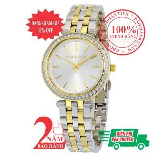 Đồng hồ nữ Michael Kors MK3405, vỏ & dây màu Bạc-Vàng (2-tone Gold & Silver), mặt màu Bạc (Silver)viền đá pha lê Swarovski, size 33mm- Model MK3405 thumbnail