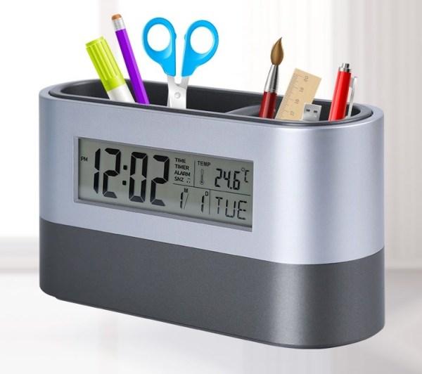 Đồng hồ để bàn kiêm hộp đựng bút V3 ( XEM GIỜ, BÁO THỨC, ĐO NHIỆT ĐỘ, HỘP ĐỰNG BÚT ) bán chạy