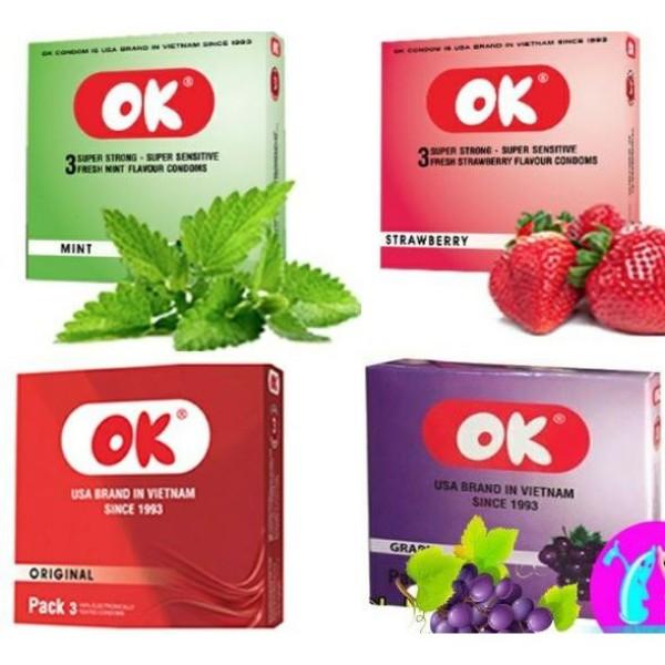 Bao cao su Ok hương dâu tây - bạc hà - nho - không mùi ( hộp 3 chiếc) (nho), sản phẩm cam kết đúng như mô tả, chất lượng đảm bảo, an toàn sức khỏe người dùng nhập khẩu