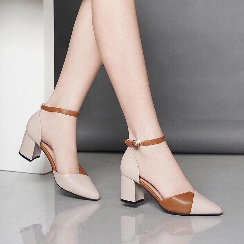 Giày cao gót 7 phân bít mũi nối 2 màu LT