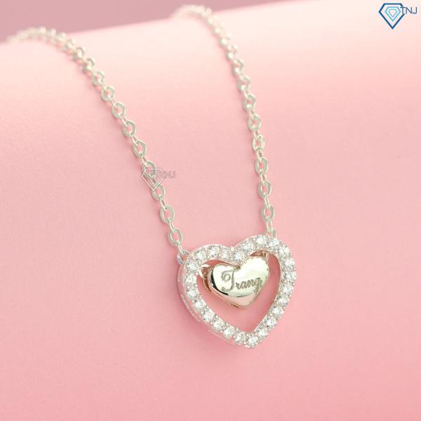 Dây chuyền bạc nữ trái tim đôi khắc tên DCN0318 - Trang Sức TNJ