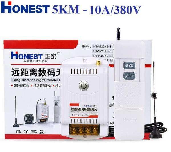Bộ công tắc điều khiển từ xa 5Km Honest 380V/10A HT-9380KG-5 có chức năng học lệnh từ điều khiển khác ở tần số 315/433, công tắc điều khiển từ xa không dây, ổ cắm điều khiển từ xa, công tắc bật tắt máy bơm nước, công tắc wifi